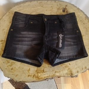 Pants - Black booty shorts with bling